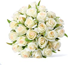 Easin Bridal Bouquet Silk Ivory Roses 26heads Wedding Bouquet for Room Home Hotel Party Event Decoration (Ivory) (Ivory)