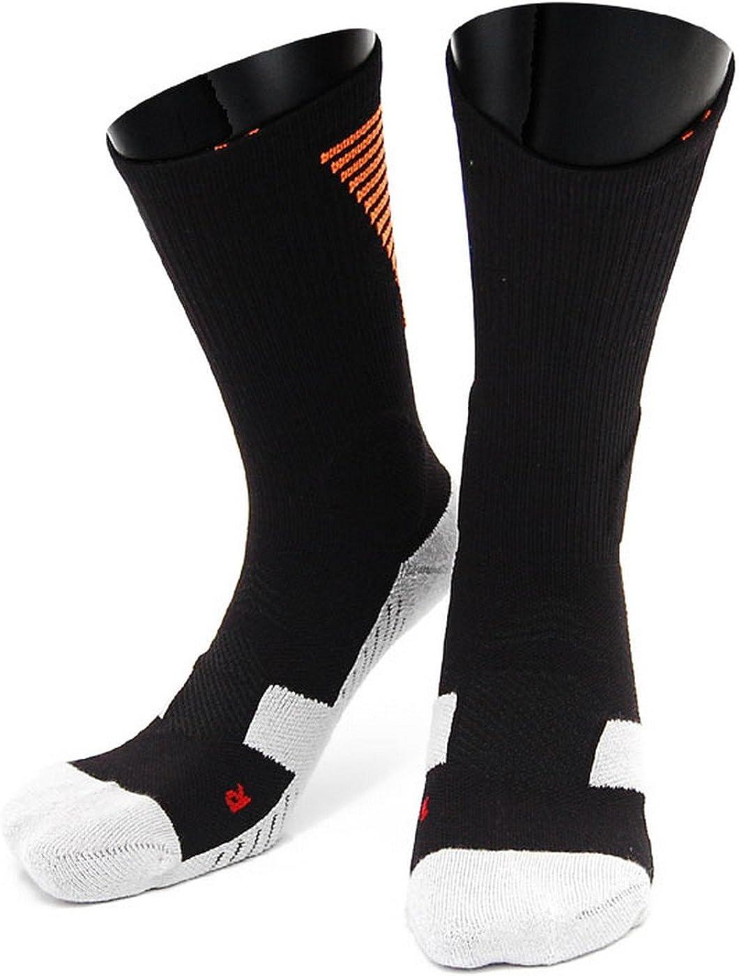 Lovely Annie Big Girl's 1 Pair High Crew Athletic Sports Socks Size L/XL XL0028-07(Black w/Orange Strip)