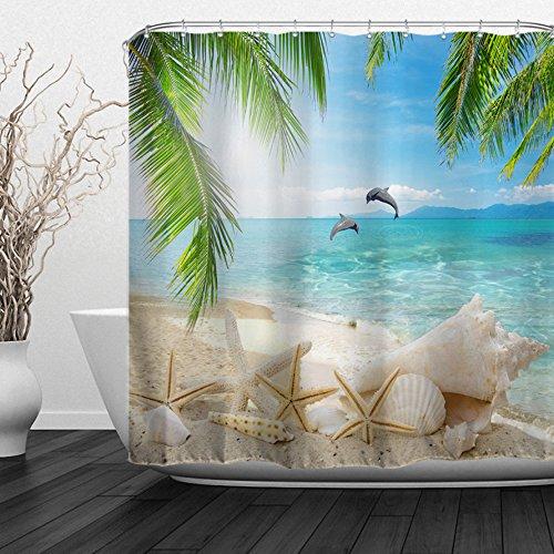 """Baccessor Dolphin Shells Shower Curtain Fabric Bathroom Decor Tropical Ocean Beach Theme Shower Curtain with Hooks, 60"""" W x 72"""" H (150CM x 180CM) - Dolphins Shells"""