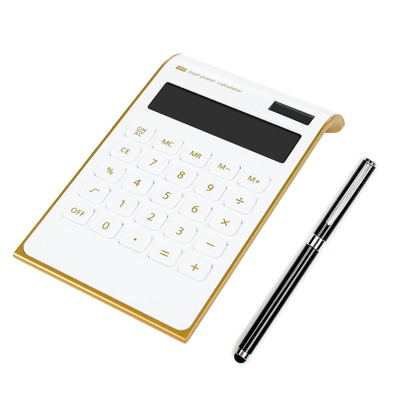 トレードメキシコ中庭電卓 10桁 ビジネス電卓 太陽エネルギー電卓 液晶電卓 デザイン電卓 手帳タイプ Lanveni 水晶ボタン 打ちやすい 時間?税計算 ホワイト