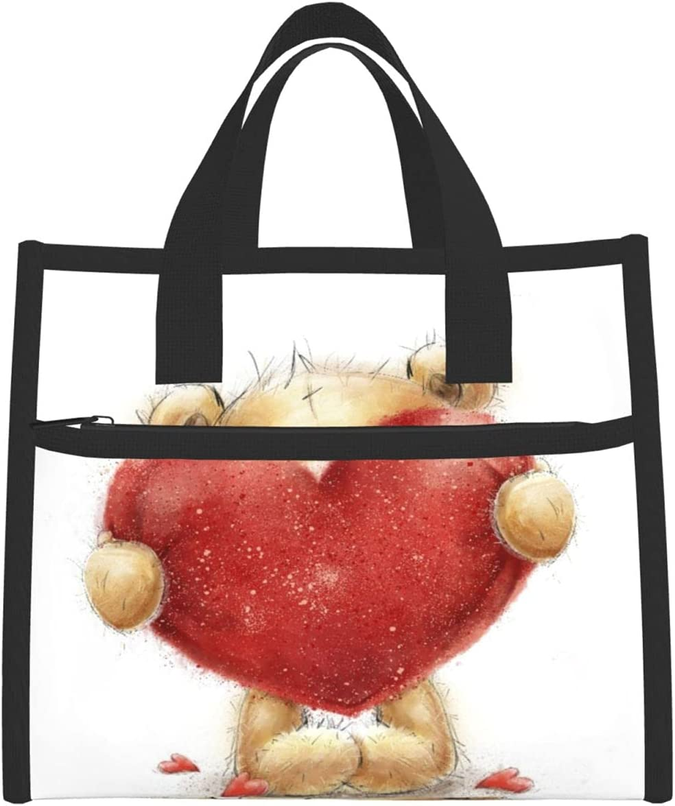 Insulated Lunch Bag,Cute Teddy Bear Boston Mall In Heart Red Love With Big Brand new