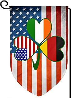 German Irish USA Flags Shamrock Garden Flag Banner Yard Flags 12.5x18 Inch Double Sided