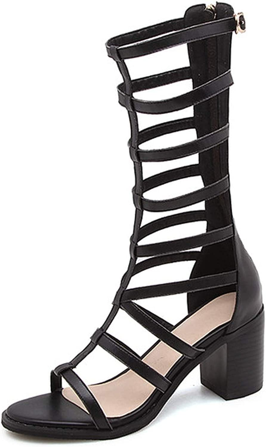 YuJi Gladiator shoes Natural Genuine Leather Thick High Heels Real Leather Zipper Sandals