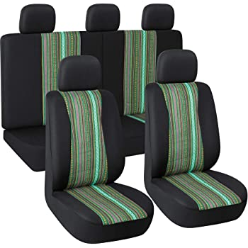 Green /& Black 7pc Stripe Multi-Color Saddle Blanket Weave Universal Bucket Seat Cover Fit for Car,Vans,SUV Autojoy Baja Seat Covers