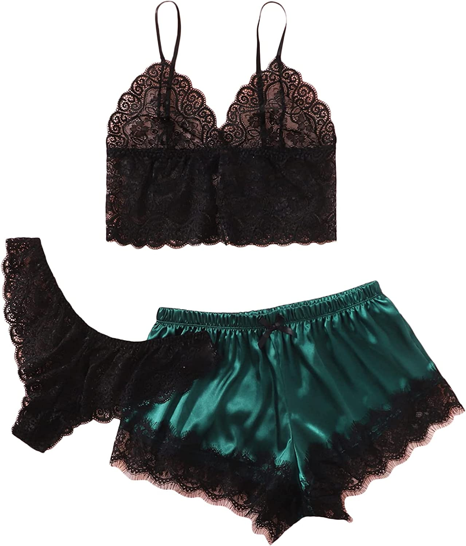 SheIn Women's Plus Size Sleepwear 3pcs Floral Lace Satin Cami Pajama Set with Panties