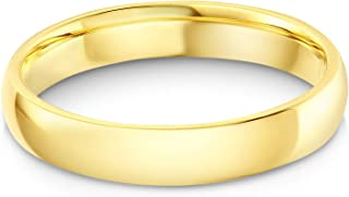 14k Solid Yellow Gold 4mm Plain Comfort Fit Wedding Band
