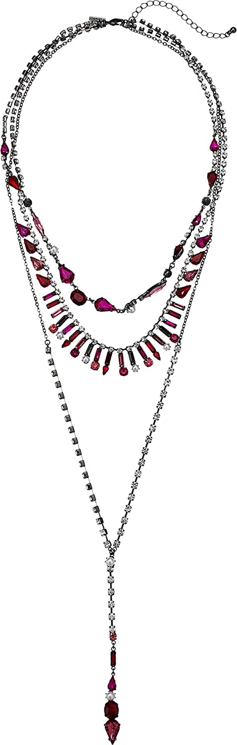 Steve Madden Red and Pink Rhinestone Cluster 3 Layer Gunmetal-Tone Lariat Style Necklace for Women