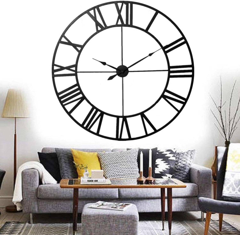 Wanduhr Wall Clocks Europischen Stil 3D Groe Metall Dekorative Rmische Ziffern Skeleton Silent schwarz Clock Wanduhrenfür Küche, Schlafzimmer, Garten, Wohnzimmer, Arbeitszimmer, Büro