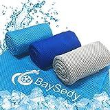 BaySedy 冷感タオル 冷却タオル スポーツタオル 熱中症対策 暑さ対策タオル 3枚セット100×30cm 収納バッグ付き BSDCT302