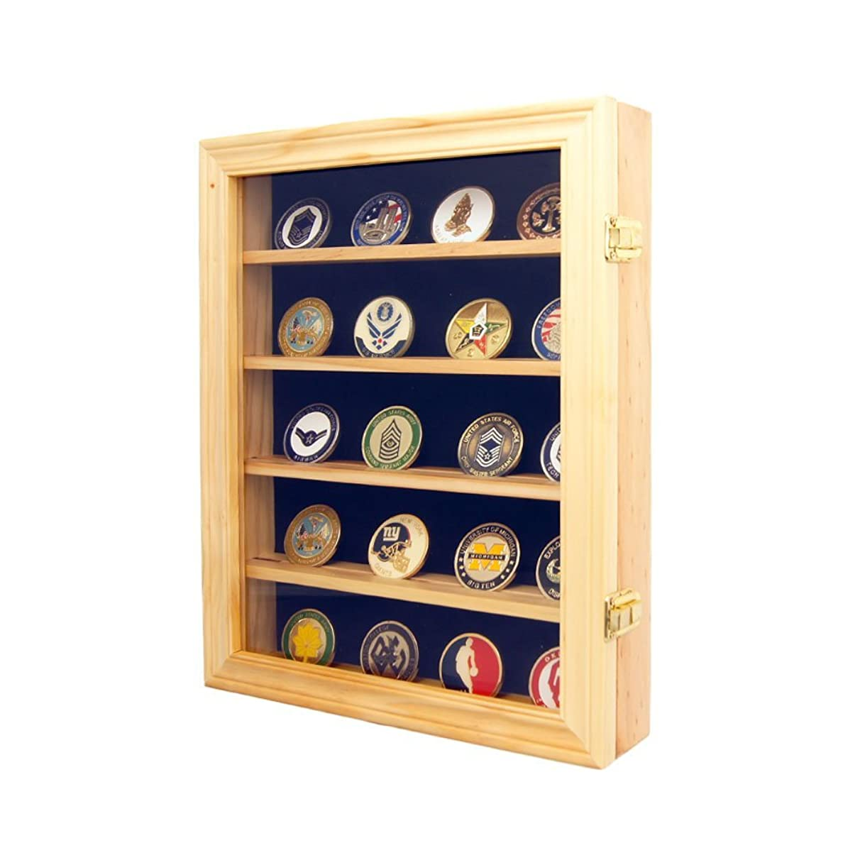 DECOMIL - Lockable 30 Military Challenge Coin, Poker Chip, Sports Coin Display Case Cabinet, Glass door, Coin30-OA