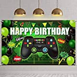 Video Game Happy Birthday Backdrop Game on Birthday Party Backdrop Banner Gaming Theme Party Photography Background Photo Props for Video Game Party Wall Decorations Supplies (Green)