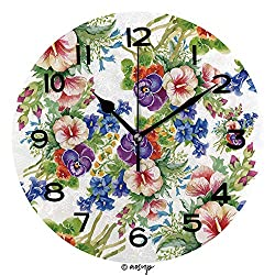 AmaUncle Round Wall Clock Floral Colorful Mallow Flowers Pattern On White Background Vector 10 inch Morden Wall Clocks Silent Round Decorative Clock No22153