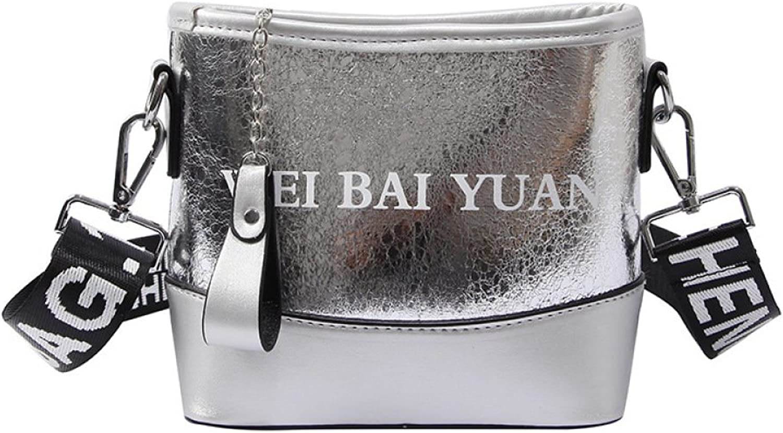 AI BAO Trend Lady Laser Shoulder Bag Letter Single Shoulder Messenger Bag Large Capacity Adjustable Wide Strap Cross-Body Bag