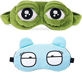 AMHDV Funny Cute Frog Sleeping Mask and Cartoon Eye Mask for Kids Girls Women (2 Pack) (Frog+Cartoon(Blue))