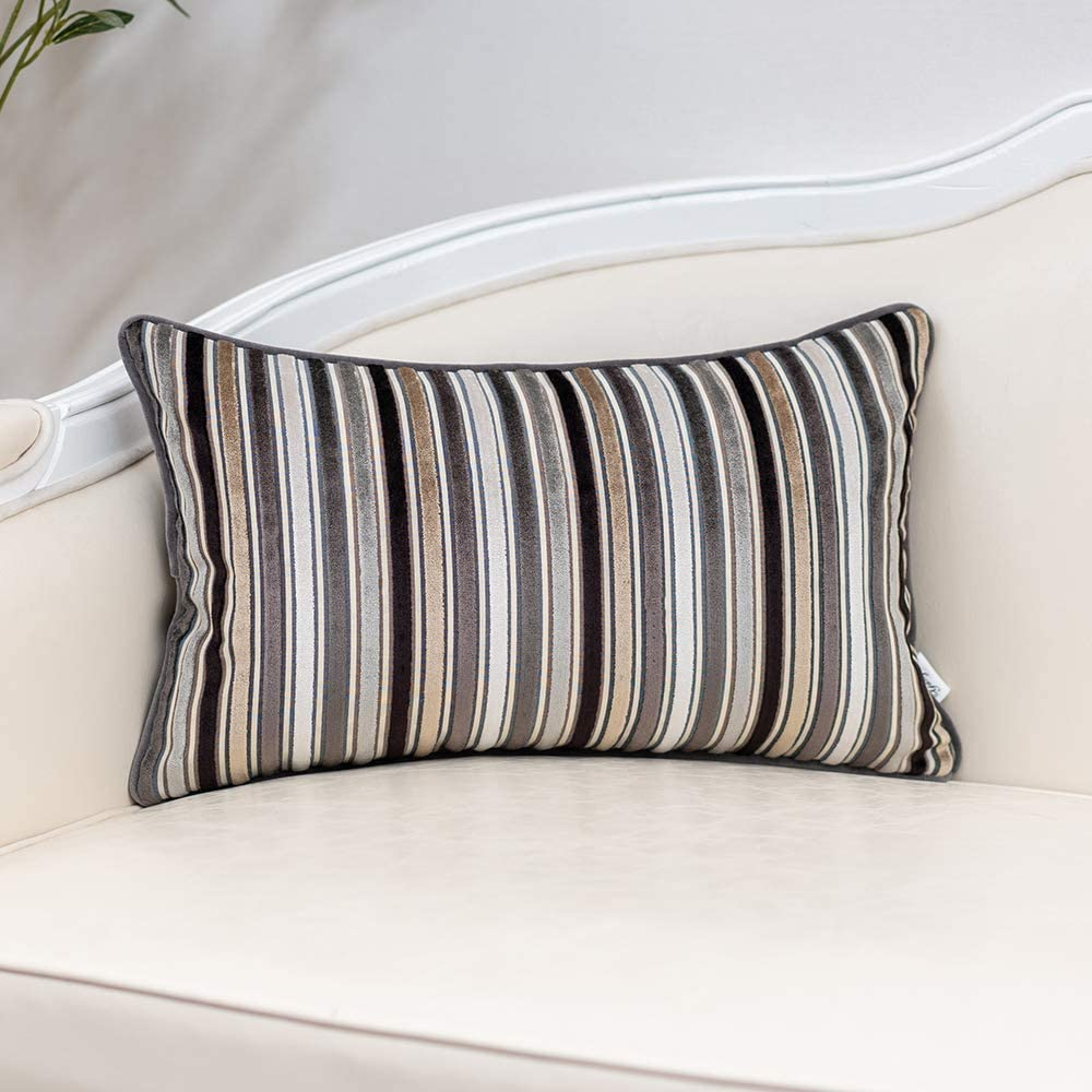 Yangest Grey Striped Velvet Beauty products Lumbar Under blast sales Multicolor Pillow Throw Cover