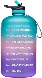 ADOLPH Large Half Gallon Motivational Water Bottle with 2 Lids (Chug and Straw), Leakproof BPA Free Tritan Sports Water Ju...