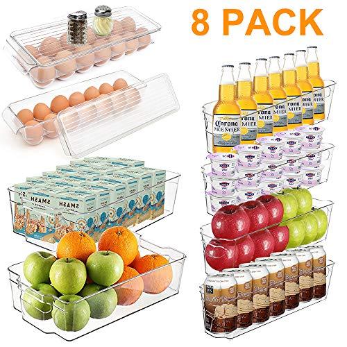 Alpacasso Packung mit 8 Kunststoff-Küchenvorratsbehältern, stapelbaren Kühlschrank-Organizer-Gefrierschrank-Organizer-Aufbewahrungsbehältern mit Griffen, BPA-freier, klarer Organisation und Lagerung.