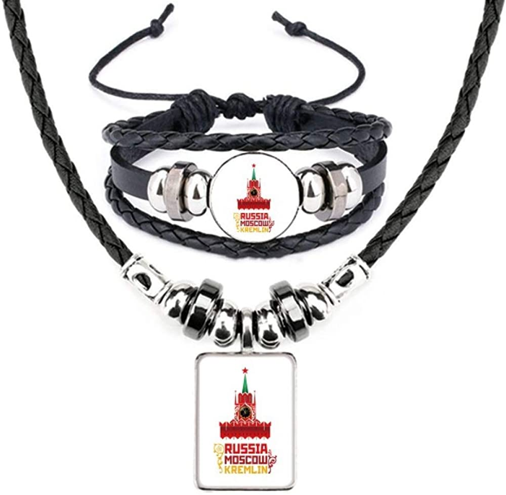 Russia Moscow Kremlin Pattern Bracelet Leather Necklace Max 57% OFF High order Jewelry