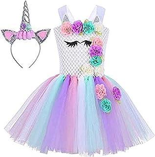 Dress, Lakobos Baby Girls Unicorn Dress, Birthday Pageant Princess Tulle Costumes Rainbow Dress UP With Headband Birthday ...