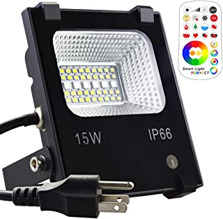 MELPO 15W LED Flood Light Outdoor, Color Changing RGB Floodlight with Remote, 120 RGB Colors, Warm White to Daylight Tunable, IP66 Waterproof, US 3-Plug
