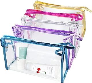 Meetory 5 Pcs Transparent Waterproof Cosmetic Bag,PVC Vinyl Zippered Wash Bag Vacation, Bathroom and Organizing Bag Travel Set