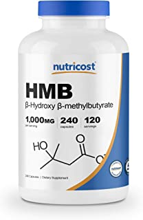 Nutricost HMB (Beta-Hydroxy Beta-Methylbutyrate) 1000mg (240 Capsules) - 500mg Per Capsule, 120 Servings - Gluten Free and...