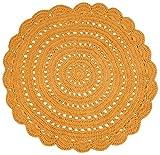 Alfombra Alma efecto crochet algodón en mango amarillo redondo Ø120 cm ~ Nattiot