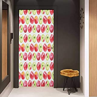 Toilet Door Sticker Apple Watercolor Macoun Cameo and Granny Smith Drawing in Agricultural Yield Pattern Glass Film for Home Office W17.1 x H78.7 Apple Green Red