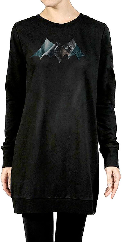 BATMAN Women's Long Fleece Hoodie Black
