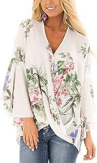 Women's Casual V Neck Flare Long Sleeve T Shirt Blouse