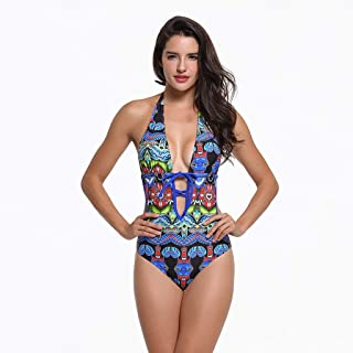 New One-Piece Print Female Swimsuit is Thin with Chest Pad Without Steel Support Sexy High Elastic Wear-Resistant (Color : Black, Size : 12)