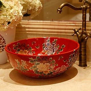 Gang-LL 洗面台 セラミック衛生陶器技術カウンタ流域洗面台用トイレは、中国の赤い芍薬セラミック洗面浴室シンクシンク