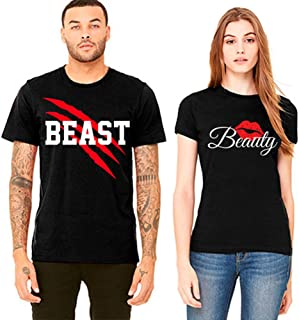 S&R New Beast and Beauty T-Shirts -Matching Couple Shirts - His and Her T-Shirts - Love Tees