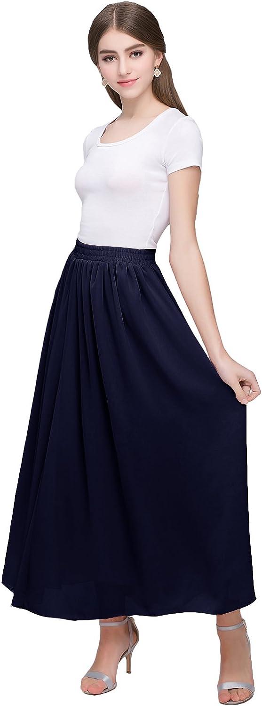 Kileyi Women's Long A Line High Elastic Waist Swing Chiffon Pleated Midi Skirt