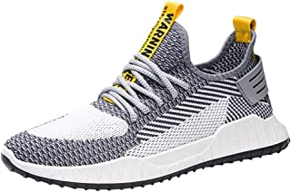 SEXYTOP Men Air Knitted Sock Platform Sneakers Lightweight Mesh Soft Bottom Sports Shoes Slip on Lace-Up Breathable Shoes