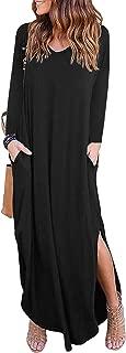 Women Loose Casual Pocket Maxi Dress Long Sleeve Split Long Dresses