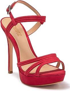 SCHUTZ Women's Bogga Ankle Strap Platform Stiletto Sandal Red Suede Platform (7, Club Red)