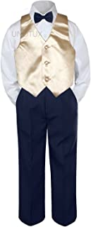 4pc Baby Toddler Kid Boys Champagne Vest Navy Blue Pants Bow Tie Suits Set S-7 (5)