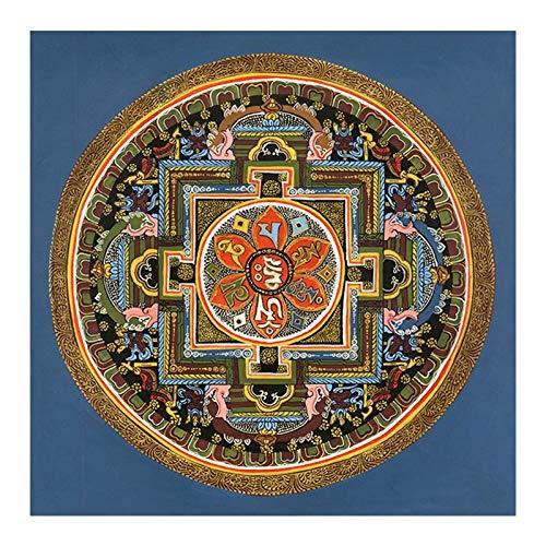 Z.L.FFLZ Tibetisch Tibetanische buddhistische Thangka Mandala Tibet buddhistische Freskoling-Raumdekoration (Color : A, Size (Inch) : 30X30cm No Frame)
