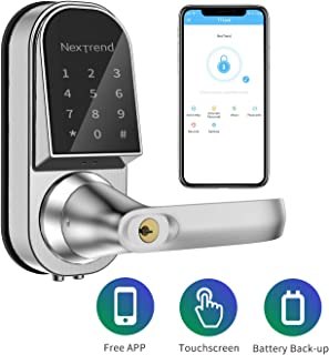 Bluetooth Lock, NexTrend Electronic Door Lock with Bluetooth Keyless, Touchscreen, Mechanical Keys Free APP Enabled Auto Lock Real-time Record for Home, Hotel, Apartment, Right Handle
