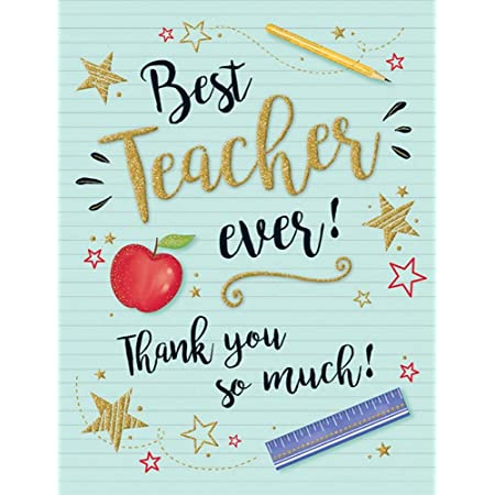 Modern Occasion Card Thank You Teacher - 8 x 6 inches - Piccadilly Greetings