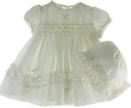 Girls Ivory Heirloom Christening Dress & Bonnet Set