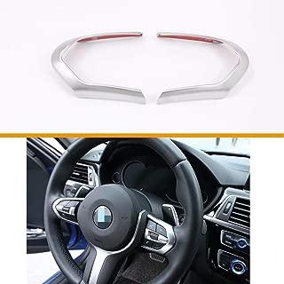 TULIN Car Steering Wheel Decoration Sticker Trim for BMW F20 F22 F21 F30 F32 F33 F36 F06 F12 F13 X5 F15 X6 F16 M-Sport(Silver, 1PC)
