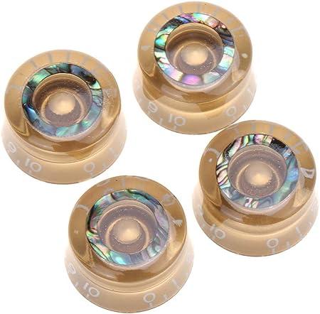 Musiclily Pro アワビサークルトップ スピードノブ / Musiclily Pro B-ストックミリ規格 アワビサークルトップ レスポールスタイルのエレキギター用スピードノブ、ゴールド(4個セット)