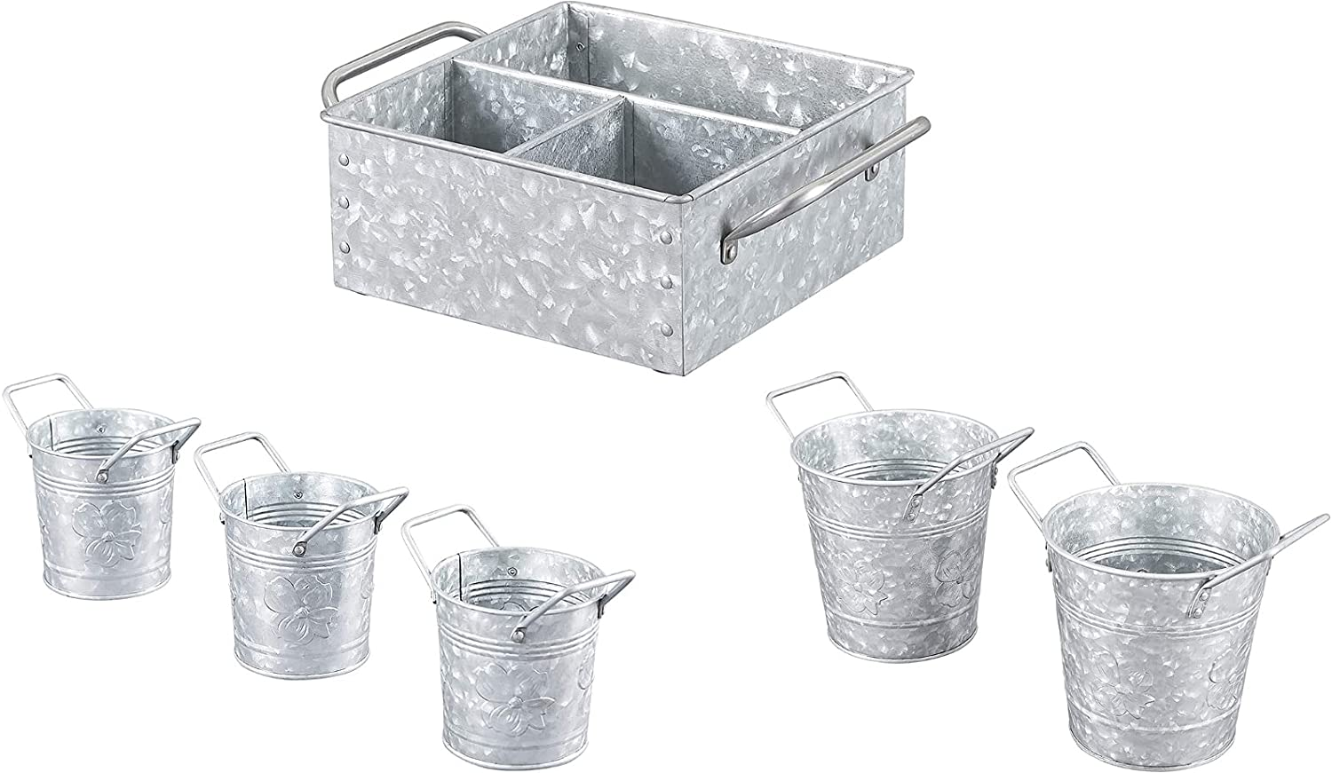 Shipping included Walford Home Décor - Galvanized Superior Metal Planters Flower Pot with H