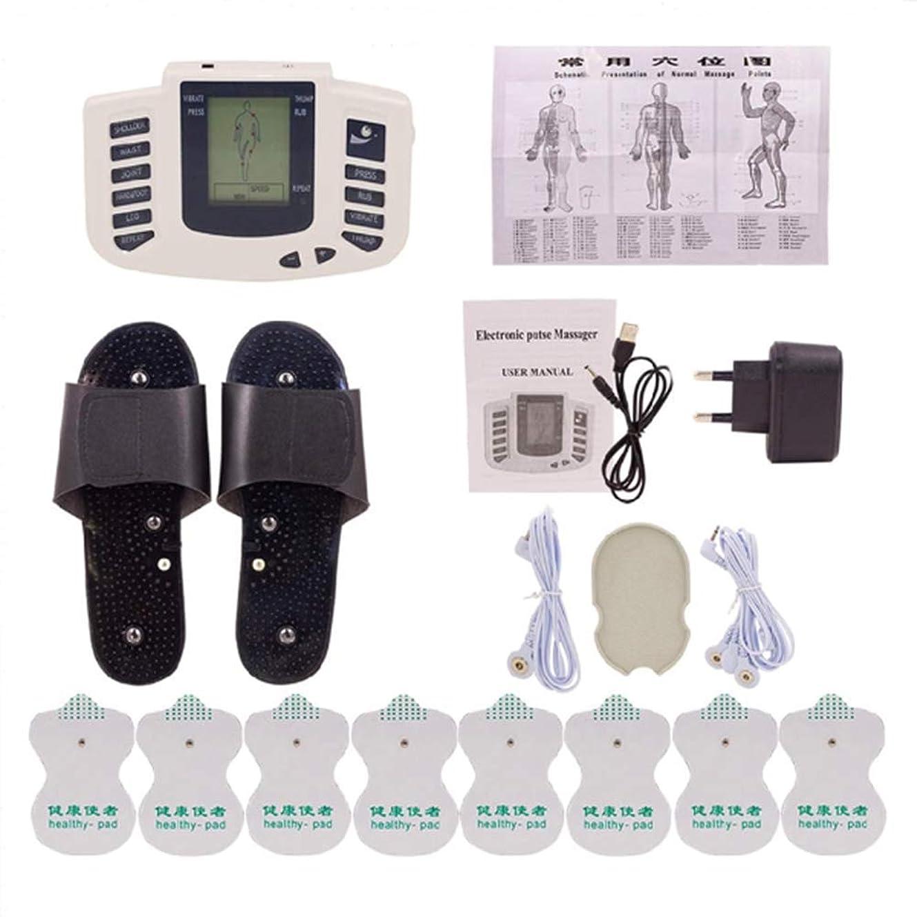 侵略桃位置づけるTENSマッサージャー、マッスル刺激装置、電極パッド付き鍼治療マッサージ痛み緩和と回復のための16個、デュアルチャンネル、デジタル充電式パルス理学療法