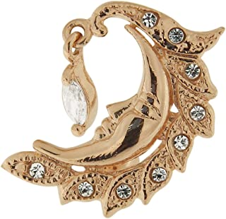 3 Micron 18K Rose Gold Plated Clear Crystal Stone Tribal Moon Reverse Bar Design 925 Sterling Silver Belly Button Ring