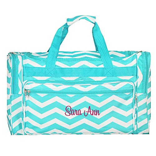 Personalized Aqua Chevron Overnight Duffle Bag 22