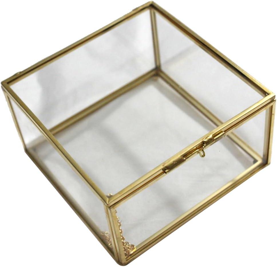 Sharplace Caja Envase Geométrico Terrario Envase Claro de Cristal para Joya Deoración de Mesa - 13 x 13 x 8cm