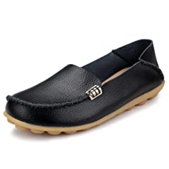bd1ccbf549ed FUDYNMALC Women s Leather Casual Round Toe Moccasins Comfort .